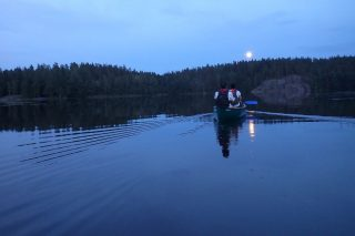 Supermoon paddling in Nuuksio