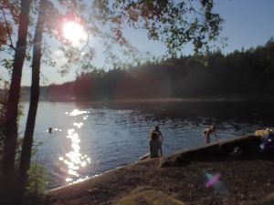 Evening swimming in Nuuksio National Park