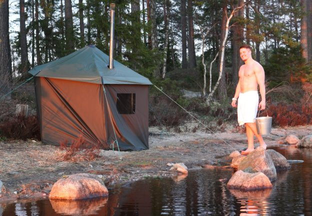 Tent sauna by the lake