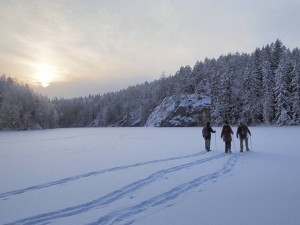 Snowshoe walking in Nuuksio