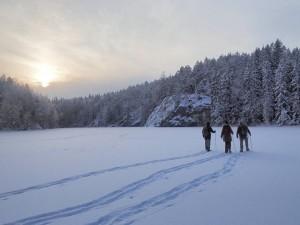 Snowshoe walking in Nuuksio