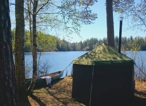 Tent sauna break on a canoeing trip