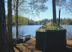 Tent sauna break on a canoeing trip